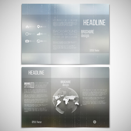 threefold: Vector set of tri-fold brochure design template on both sides with world globe element. Abstract blurred natural background. Summer vector pattern.