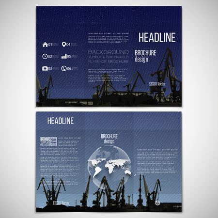 threefold: Vector set of tri-fold brochure design template on both sides with world globe element. Shipyard, harbor skyline, dark night style vector illustration. Illustration