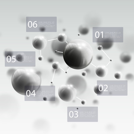 nuclear physics: Three dimensional glowing steel spheres, gray background. Abstract molecules design. Scientific infographic design. Illustration
