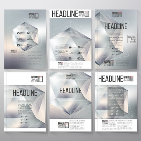 three objects: Polygon pattern with the reflection, minimalistic geometric facet crystal on blurred background. Brochure, flyer or report for vector business templates. Illustration