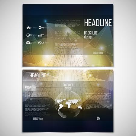 folleto: Vector conjunto de tri-pliegue plantilla de diseño de folletos en ambos lados con el globo del mundo elemento. Pirámide abstracta 3D, Fondo geométrico, estilo triángulo azul para el modelo de negocio o la ciencia de vectores. Vectores