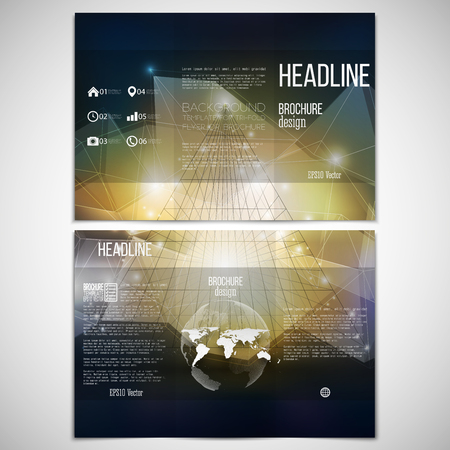 pyramid: Vector set of tri-fold brochure design template on both sides with world globe element. Abstract 3D pyramid, geometric background, blue triangle style for business or science pattern vector.