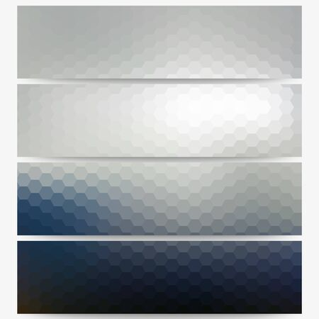 obscurity: Abstract hexagonal headers set, blurred design vector.