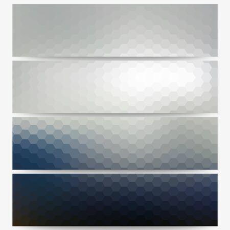 Abstract hexagonal headers set, blurred design vector.