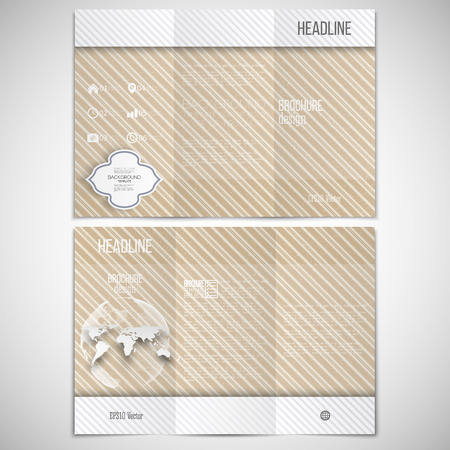 threefold: Vector set of tri-fold brochure design template on both sides with world globe element. Vintage style lines beige background. Repeating modern stylish geometric decoration. Simple abstract monochrome vector texture.