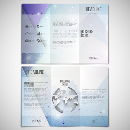 threefold: Vector set of tri-fold brochure design template on both sides with world globe element. Abstract blue geometric background, science molecular pattern, triangle style pattern vector.