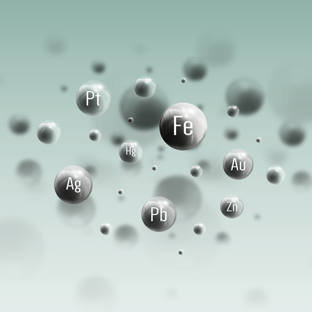 Three dimensional glowing steel spheres, gray background. Abstract molecules design of metals. Scientific background for banner or flyer.