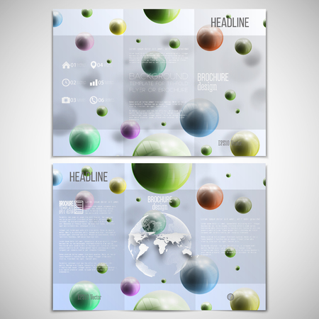 threefold: Vector set of tri-fold brochure design template on both sides with world globe element. Three dimensional glowing color spheres, blue background. Abstract colorful balls. Scientific or medical patterns.
