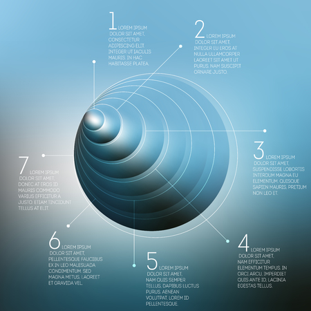 three layered: Circles pattern with the reflection of environment on blurred background, 3D pyramid infographic vector illustration.