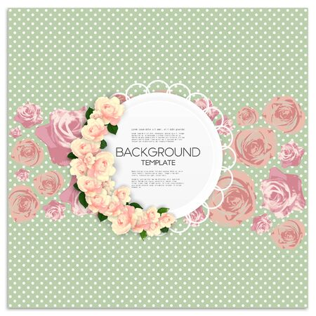 Invitation card with place for text and pink flowers over green dotted background, vector illustration. Vector
