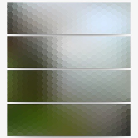 obscurity: Abstract hexagonal headers set, blurred design. Illustration