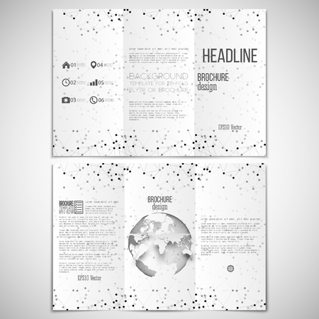 threefold:  set of tri-fold brochure design template on both sides with world globe element.  Illustration