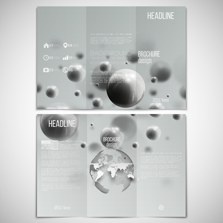 both sides: set of tri-fold brochure design template on both sides with world globe element. Illustration