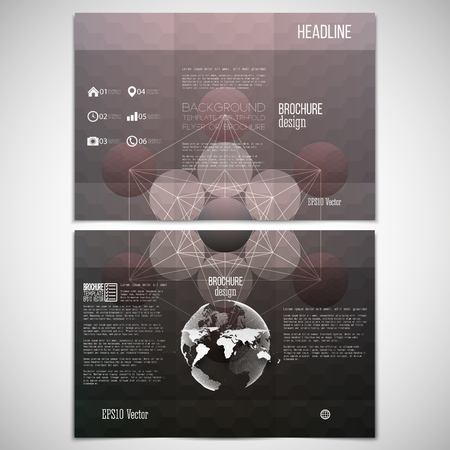 threefold: set of tri-fold brochure design template on both sides with world globe element.