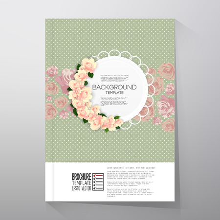 Floral background with place for text and pink flowers over green dotted background, canvas texture. Vector