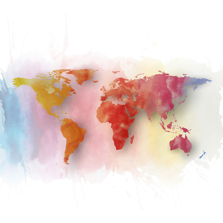 messy paint: World map element abstract hand drawn watercolor background