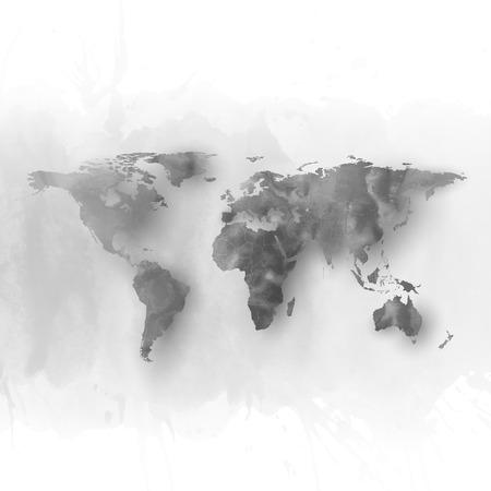 世界地図の要素、抽象は手描かれた水彩灰色の背景、ベクトル図、デザインの素晴らしい構成です。  イラスト・ベクター素材