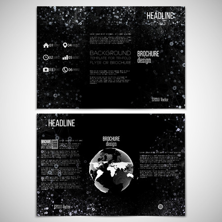 threefold: Vector set of tri-fold brochure design template on both sides with world globe element. Molecular white structure on black background. Business or science style, vector illustration Illustration