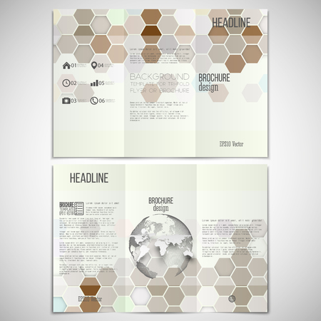 threefold: Vector set of tri-fold brochure design template on both sides with world globe element. Hexagonal modern stylish geometric brown background. Colored honeycombs on white background.