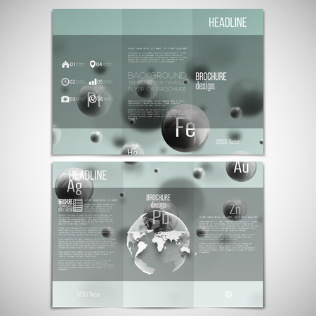 threefold: Vector set of tri-fold brochure design template on both sides with world globe element. Three dimensional glowing steel spheres, gray background. Abstract molecule metals. Scientific background.