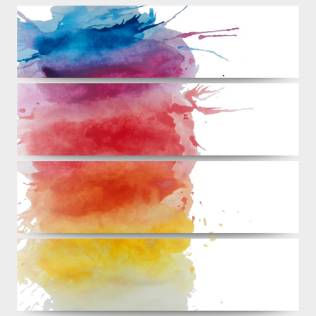 Abstract hand drawn watercolor background with empty place for text message, great composition for your design. Web banners collection, abstract header layouts, vector illustration templates. Vector