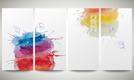 bunner: Abstract hand drawn watercolor background with empty place for text message, great composition for your design. Colorful banners collection, abstract flyer layouts, vector illustration templates