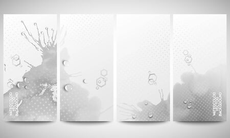 bunner: Abstract hand drawn watercolor gray background with empty place for text message, great composition for your design. Monochrome banners collection, abstract flyer layouts, vector illustration templates Illustration