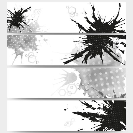 bunner: Abstract hand drawn spotted background with empty place for text message, great composition for your design. Web banners collection, abstract header layouts, vector illustration templates. Illustration