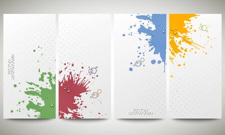 bunner: Abstract hand drawn spotted background with empty place for text message, great composition for your design. Colorful banners collection, abstract flyer layouts, vector illustration templates
