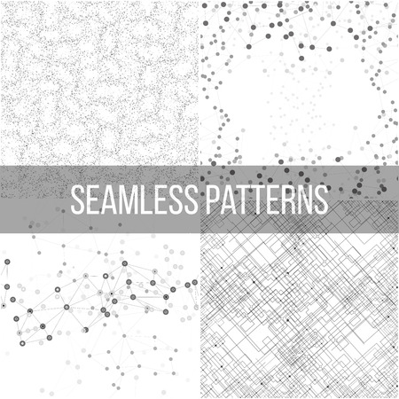 computer science: Molecular structure backgrounds, seamless patterns. Business templates for webdesign, science design vector illustration.