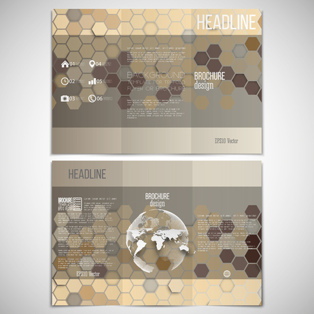 threefold: Vector set of tri-fold brochure design template on both sides with world globe element. Hexagonal modern stylish geometric brown background. Colored honeycombs on brown background.