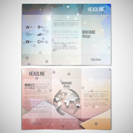 threefold: Vector set of tri-fold brochure design template on both sides with world globe element. Abstract colorful geometric background, science molecular pattern, triangle style pattern vector. Illustration