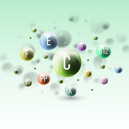 Three dimensional glowing color spheres on green background. Abstract colorful design of vitamins. Scientific or medical template for banner or flyer. Ilustração