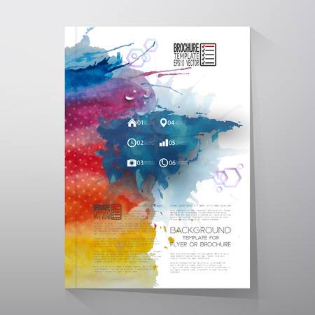 eurasia: Abstract hand drawn watercolor background with place for text message, Eurasia map element, great composition for your design. Brochure or flyer vector illustration template Illustration