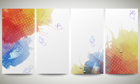 Abstract hand drawn watercolor background with empty place for text message, great composition for your design. Colorful banners collection, abstract flyer layouts, vector illustration templates Vector