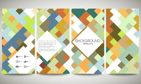bunner: Abstract colored banners collection, flyer layouts, vector illustration templates. Abstract colored backgrounds, square design.