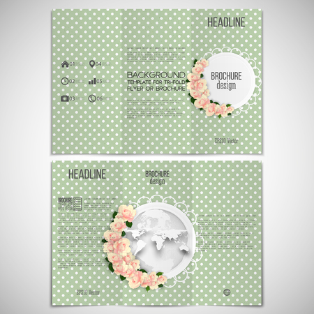 threefold: Vector set of tri-fold brochure design template on both sides with world globe element. Pink flowers over dotted green background, floral vector pattern. Illustration
