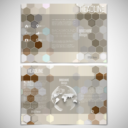world globe: Vector set of tri-fold brochure design template on both sides with world globe element. Hexagonal modern stylish geometric brown background. Colored honeycombs on brown background.