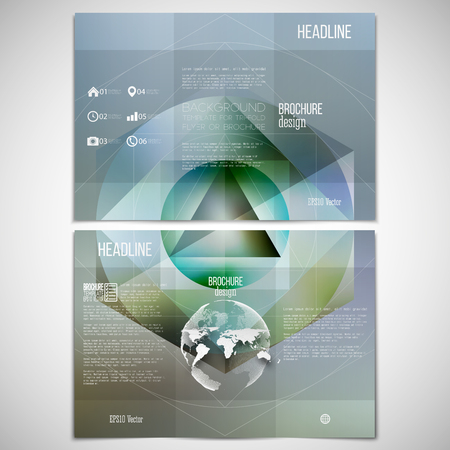threefold: Vector set of tri-fold brochure design template on both sides with world globe element. Polygon pattern with the reflection, minimalistic geometric facet crystal icon on blurred background.