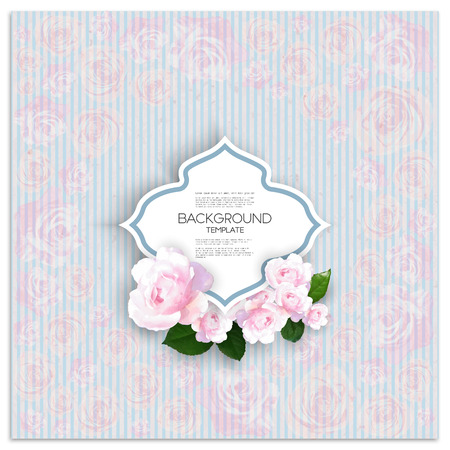 background canvas: Marriage invitation card with place for text and pink flowers over linear blue background, canvas texture. Vector illustration.