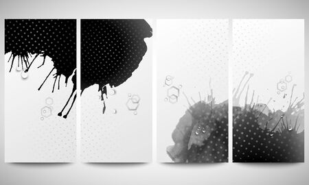 bunner: Abstract hand drawn watercolor gray-black background with empty place for text message, great composition for your design. Monochrome banners collection, abstract flyer layouts, vector illustration templates