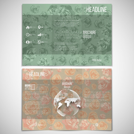 threefold: Vector set of tri-fold brochure design template on both sides with world globe element. Drawn grunge pink flowers over canvas texture, vector illustration.