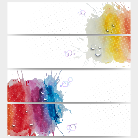 bunner: Abstract hand drawn watercolor background with empty place for text message, great composition for your design. Web banners collection, abstract header layouts, vector illustration templates. Illustration