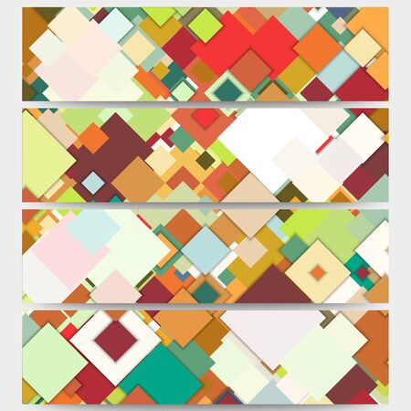 bunner: Web banners collection, abstract header layouts. Abstract colored backgrounds, square design, vector illustration templates. Illustration