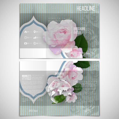 threefold: Vector set of tri-fold brochure design template on both sides with world globe element. Pink flowers over linear blue background, floral vector pattern.