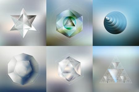 背景をぼかし、ベクトル図でミニマルな幾何学的なファセット結晶ロゴ、リフレクションで多角形パターンのセットです。