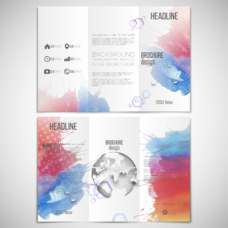 threefold: Vector set of tri-fold brochure design template on both sides with world globe element. Abstract hand drawn spotted colorful  background, composition for your design, vector illustration.