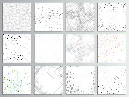 Set of 12 creative cards, square brochure template design. Molecular structure, gray backgrounds for communication, science abstract  illustration.