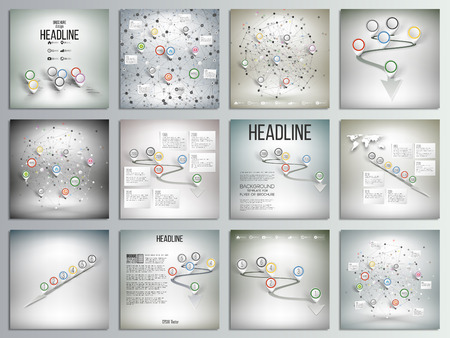 presentation card: Set of 12 creative cards, square brochure template design. World map with pointer marks and other infographics set, templates illustration.