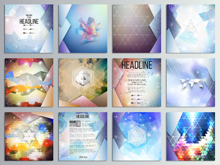 science: Set of 12 creative cards, square brochure template design, geometric science backgrounds set, abstract triangular colorful patterns.